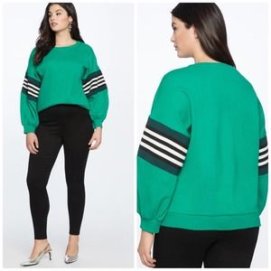 Eloquii Dramatic Puff Sleeve Sweatshirt Stripes